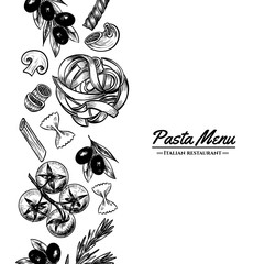 Italian pasta frame . Hand drawn vector illustration of an Italian pasta on a blackboard, sketch . Classic italian cuisine.