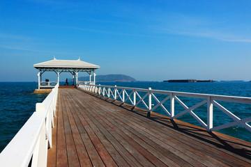 Beach, sea waves and blue sea at Sichang Island, Chonburi, Thailand