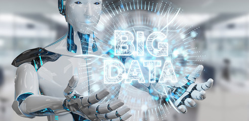 White humanoid using Big Data digital hologram 3D rendering