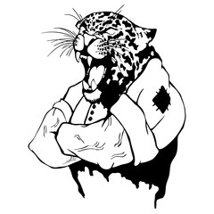 Isolated vector illustration a strong wild leopard-man.