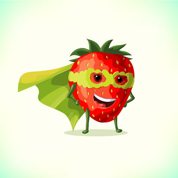 Cartoon superhero strawberry in green cape and green mask. Funny fruit and vegetable super hero. Vector illustration on white background