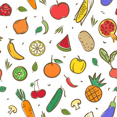 Cute mix fruits and vegetables  seamless pattern background vector format in hand drawing cartoon styles