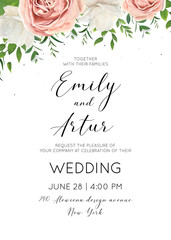 Wedding invitation floral invite card Design with creamy white garden peony flowers, blush pink roses, green tree leaves, greenery herbs, eucalyptus wreath decoration. Vector elegant cute illustration