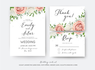 Wedding floral invite, RSVP, thank you card vector design set with creamy white garden peony flowers blush pink roses, green leaves, greenery herbs, eucalyptus branch decoration. Romantic illustration