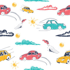 Garden Poster On the street Amazing seamless vector car pattern. Baby ornament with toy machine. illustration