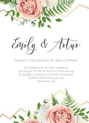 Wedding floral invite, invtation, save the date card design. Watercolor pink roses, cute white garden peony flowers, green leaves, greenery forest fern, golden geometrical decoration. Elegant template