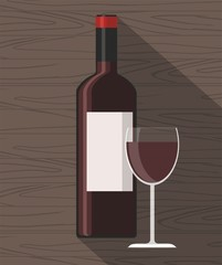 Red wine bottle and wine glass on wooden background. Vector Illustration