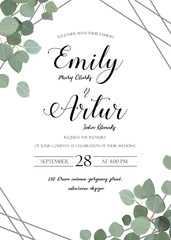 Wedding floral watercolor style invite, invitation, save the date card design with cute Eucalyptus tree branches with greenery leaves & silver stripes decoration. Vector elegant rustic luxury template