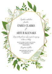 Wedding Invitation, floral invite save the date modern card Design: greenery leaves, forest greenery, herbs, natural plants, branches, botanical decoration & geometrical golden frame. Vector template