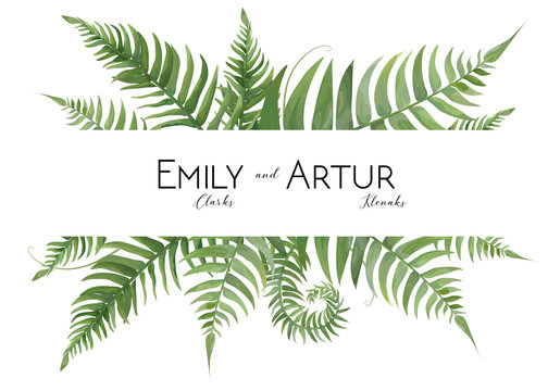 Wedding floral watercolor invite, invitation, save the date card design with tropical forest greenery leaves & green fern fronds decorative natural border, frame. Vector, modern art elegant template.