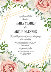 Wedding floral invite, invtation card design. Watercolor lavender pink rose, white garden peony flowers blossom, green leaves, greenery plants & golden stripes. Vector art beautiful, romantic template
