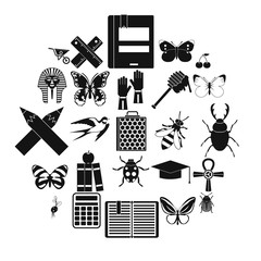 Hexapod icons set. Simple set of 25 hexapod vector icons for web isolated on white background