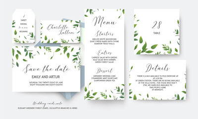 Wedding save the date, menu, label, table number, info cards vector design. Botanical, greenery, rustic, watercolor style art green leaves, eucalyptus tree branches, forest herbs & plants. Elegant set