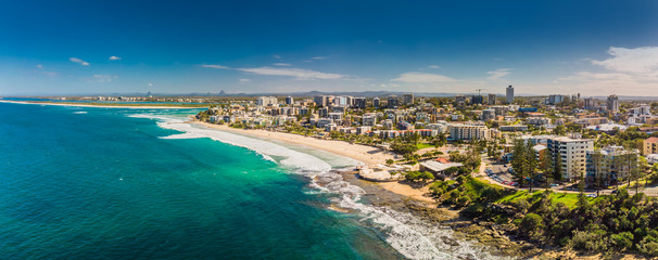 Aerial panoramic image of ocean waves on a Kings beach, Caloundra, Queensland