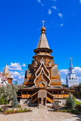 Wooden church in Izmailovo Kremlin - Moscow Russian