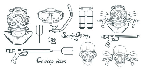 Set for design on diving. Scuba diving logo. Diver with scuba . Scuba-diving helmet. Skull in the mask of a diver. Vector graphics to design.