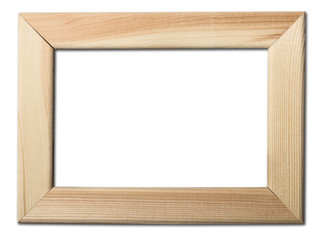 Blank wooden photo frame. Isolated on white background with clipping path included.