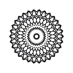 Monochrome Round Ornament Mandala Illustration