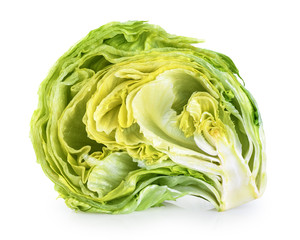Iceberg lettuce isolated on a white background.
