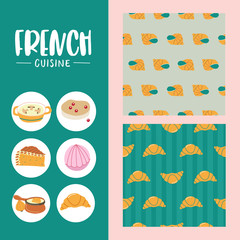 French cuisine. Vector illustration.