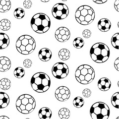 White seamless football pattern with black soccer balls silhouette.