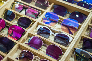 Online sunglass shop and different apparel for eyes with colorful accessories and trendy lenses.