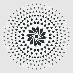 Element for design. Circle with dynamic radial rays. Vector illustration.