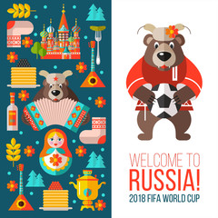 Travelling to Russia. Welcome to Russia. Vector illustration isolated on white background