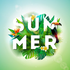 Summer illustration with toucan bird and parrots beak flower on tropical background. Exotic leaves with holiday typography element. Vector design template for banner, flyer, invitation, brochure