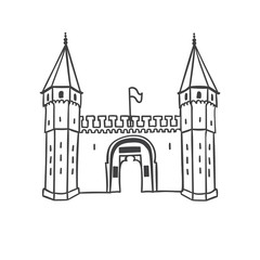 Vector illustration of the Gate of Salutation of historical building Topkapi Palace in Istanbul. Hand drawn ottoman architecture in simple line style isolated in white background. Travel icon design.
