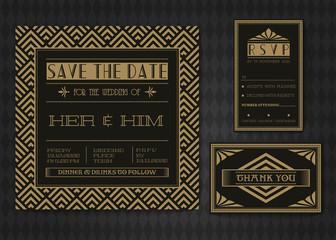 Wedding invitation card vector template set.