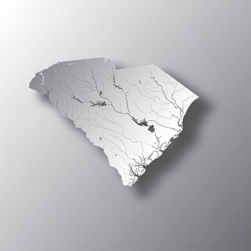 U.S. states - map of South Carolina with paper cut effect. Please look at my other images of cartographic series - they are all very detailed and carefully drawn by hand WITH RIVERS AND LAKES.