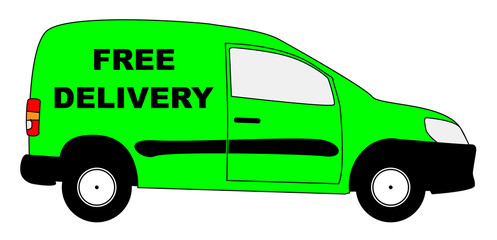 Small Delivery Van With Free Delivery Text