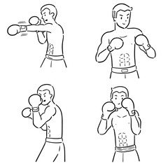 vector set of boxer