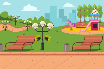 City park with a bench, lanterns and a playground for children. Vector cartoon flat urban landscape illustration.