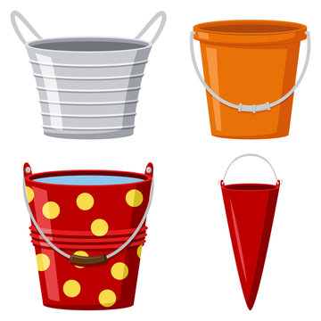 Metal and plastic buckets collection. Vector cartoon flat set of pails with water and empty for garden and home isolated on white background.