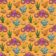 Seamless pattern in doodle style with the image of a cute octopus. Colorful vector background.