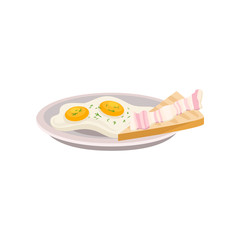 Plate with fried eggs and fresh bread with piece of bacon. Traditional breakfast. Tasty meal. Flat vector element for cafe menu