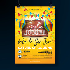 Festa Junina Party Flyer Illustration with typography design on vintage wood board. Flags and Paper Lantern on Yellow Background. Vector Brazil June Festival Design for Invitation or Holiday