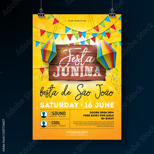 festa junina party flyer illustration with typography design on