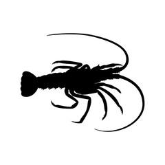 Icono plano silueta langosta en color negro