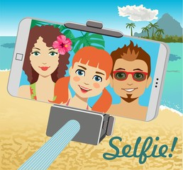 Family makes selfie on the background of the beach with the help of selfie-stick. Monopod selfie. Tool for smartphone. Vector Illustration.