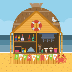 Exotic beach bar. Summer restaurant on sea coast selling fruit shakes, alcohol drinks and cocktails. Beach party scene with tropical tiki bar in bungalow.