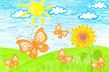 Orange Butterflies and Sunflower in the field. Colored pencils drawing, author's design, kid's art style.