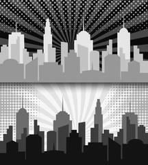 Comic cityscape monochrome horizontal banners