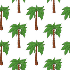 Palm trees as seamless pattern. Colored hand drawn sketch