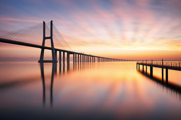 Bridge Lisbon at sunrise, Portugal - Vasco da Gamma