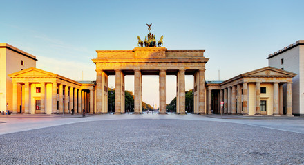 Brandenburg Gate during the sunrise in Berlin, Germany