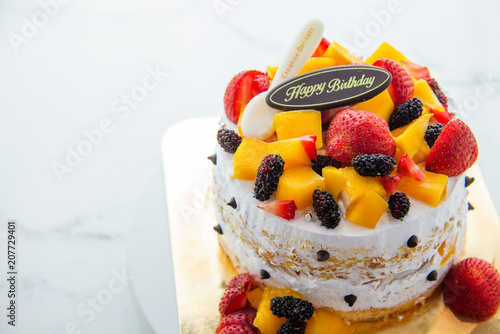 Fresh Fruit Homemade Cake With Happy Birthday Tag Stock Photo And Royalty Free Images On Fotolia