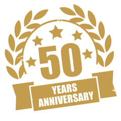 Fifty years anniversary golden grunge stamp